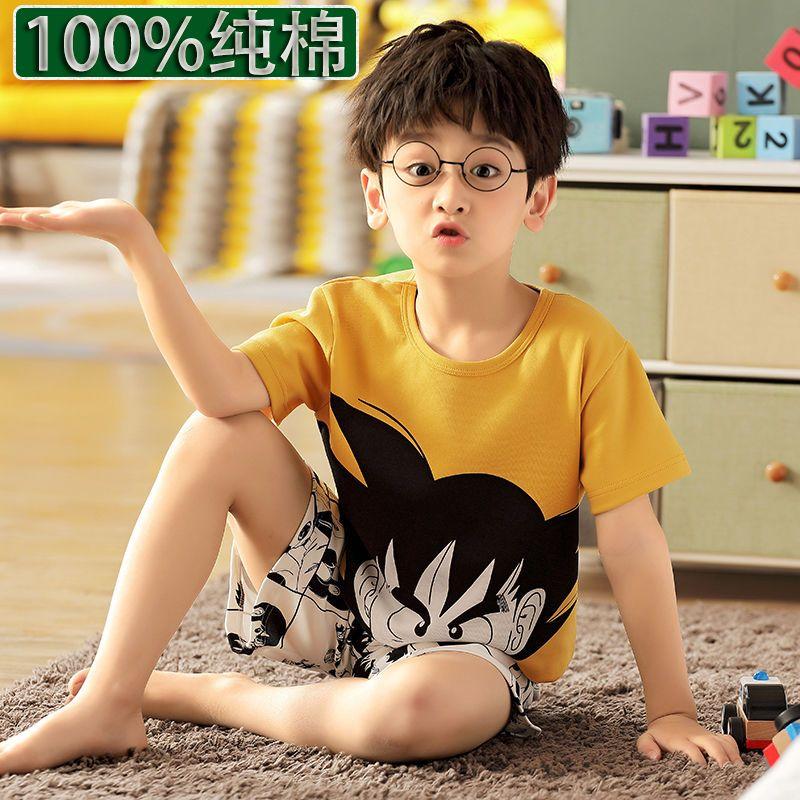 男童100纯棉睡衣夏天男士男夏季男夏高档夏装学生短袖套装青少年