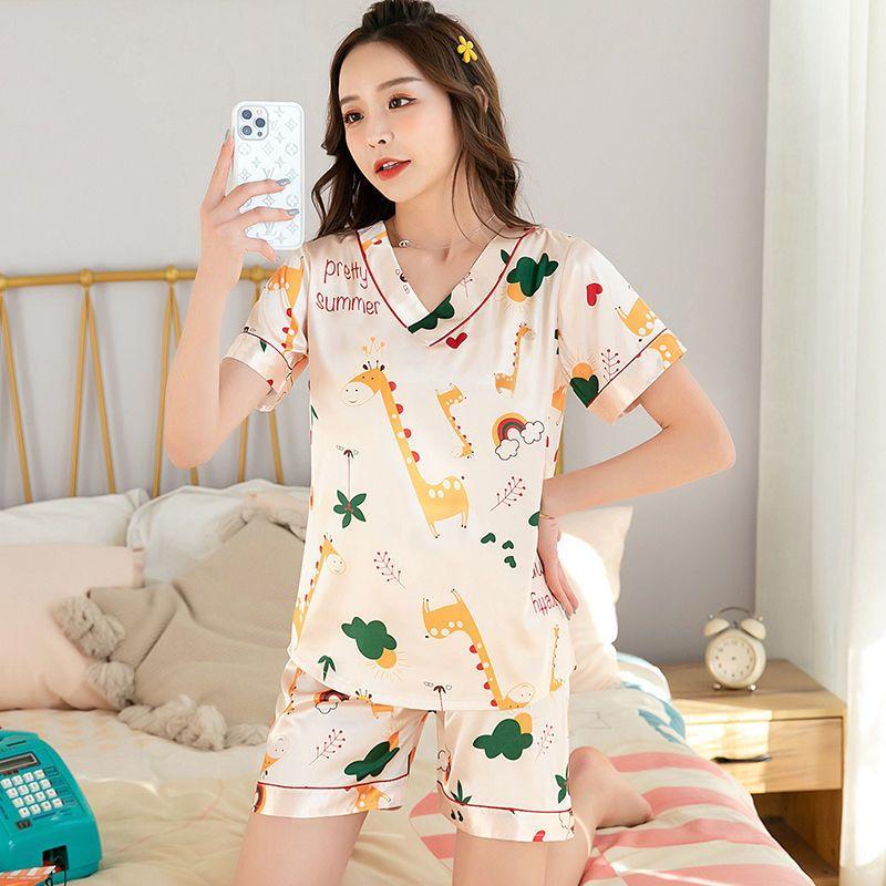 睡衣女夏季薄款短袖性感V领冰丝睡衣