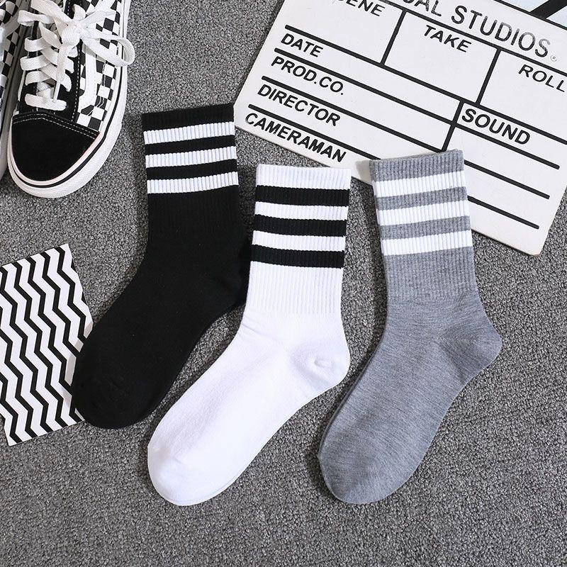 3双袜子女中筒袜潮街头春夏款长筒袜ins学院风简约运动条纹情侣袜