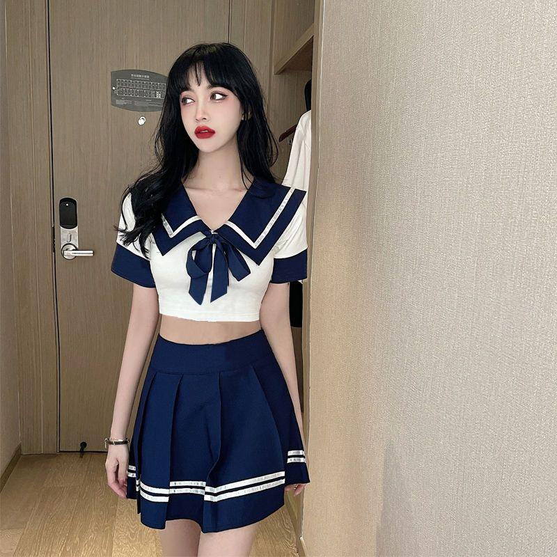 日系游泳衣女分体学生保守遮肚显瘦泳装少女海军风水手领校园温泉