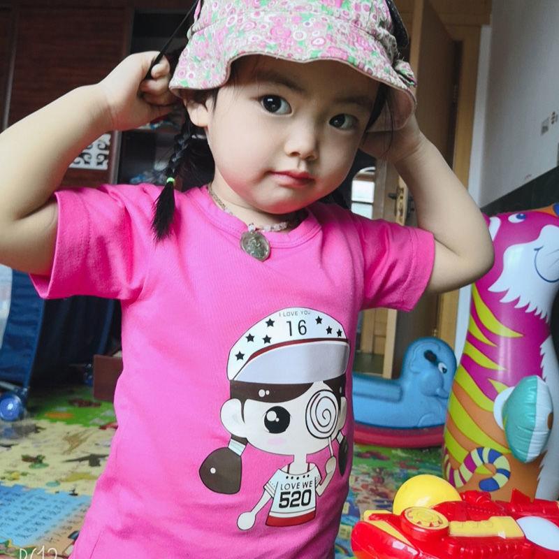 儿童短袖T恤男女宝宝纯棉韩版男童帅气潮女童小孩半袖打底衫上衣