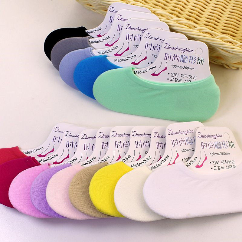 女士超薄款隐形船袜春夏季韩国可爱硅胶防滑防臭女短袜浅口女袜子