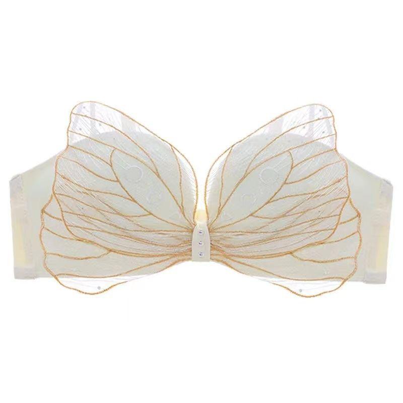 日系小胸聚拢内衣女性感刺绣蝴蝶结无钢圈调整型收副乳胸罩套装