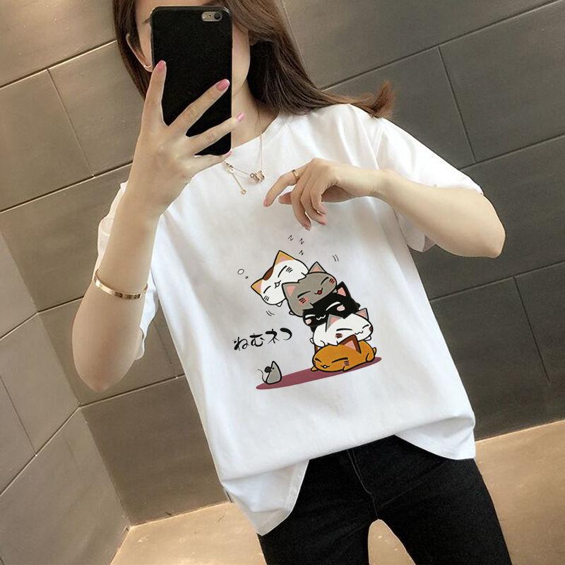 100%棉夏装休闲半袖宽松女t恤打底衫纯棉印花白色短袖体恤上衣