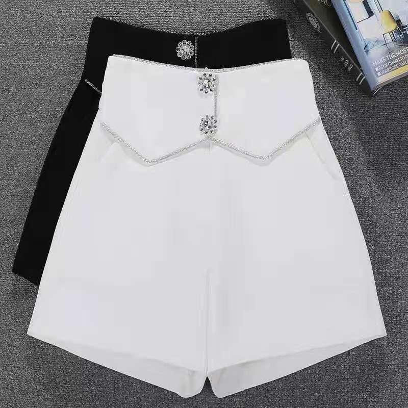 夏季韩版女士短裤百搭高腰显瘦阔腿裤休闲时尚宽松短裤女最新款