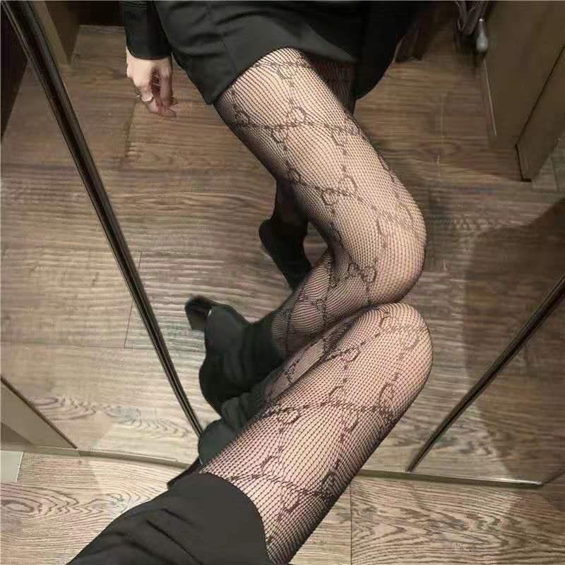网红ins潮薄JK萝莉性感蕾丝渔网袜双G字母蝴蝶月季花防勾丝连裤袜