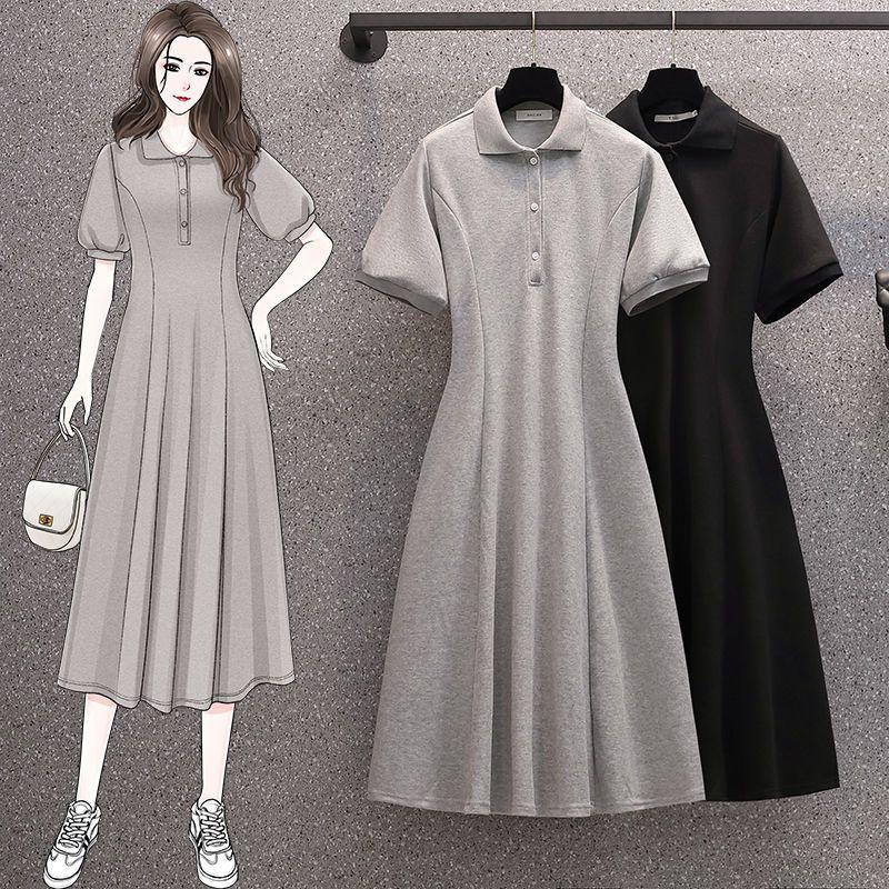 54205-大码女装夏装2021新款爆款胖mm200斤遮肚polo泡泡袖连衣裙长款-详情图