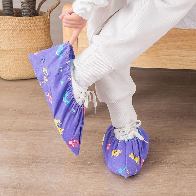 鞋套可反复洗透气卡通鞋套家用棉布鞋套加厚耐磨防滑防尘机房脚套