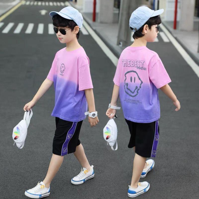 37828-童装男童夏装短袖速干两件套装2021新款中大儿童休闲洋帅气韩版潮-详情图