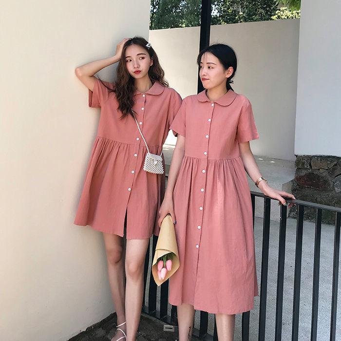 夏季短袖连衣裙女学生韩版宽松百搭学院风休闲单排扣纯色A字裙子