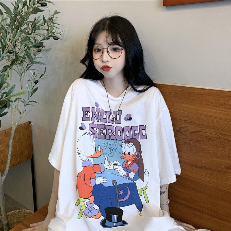 原宿风短袖T恤女夏装2021新款韩版卡通印花少女感中长款上衣ins潮【7天内发货】