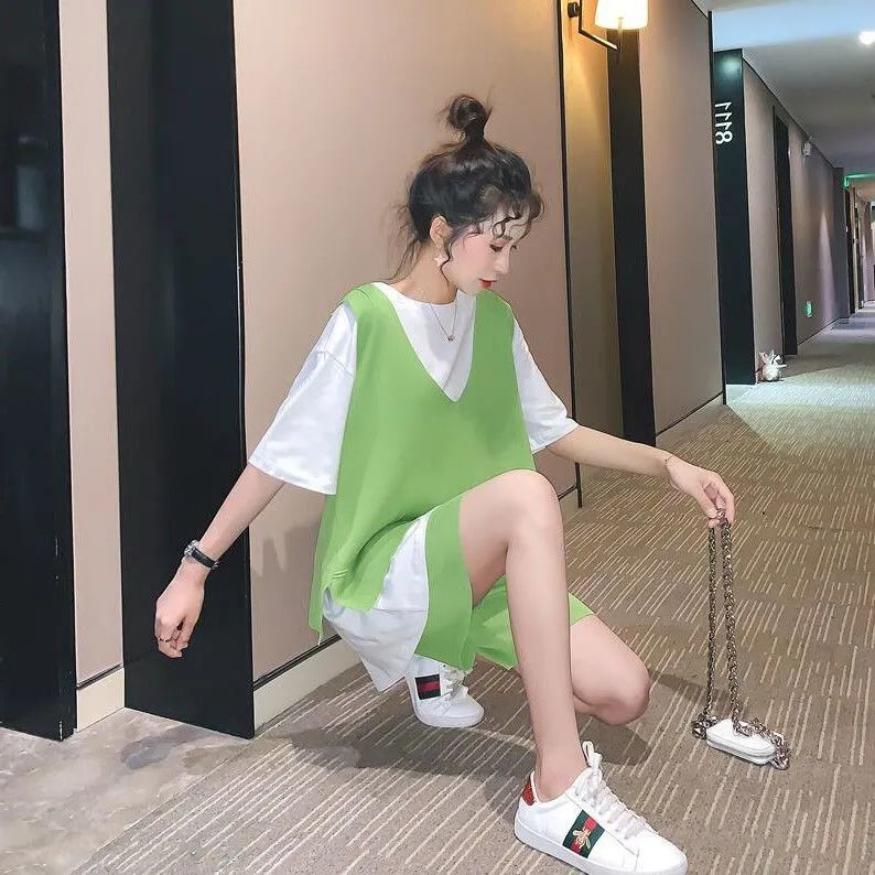 37760-2021新款三件套时尚休闲套装女运动网红洋气很仙的牛油果绿宽松夏-详情图
