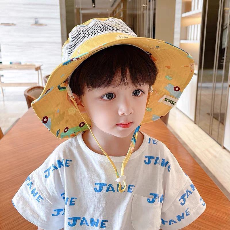 儿童防晒帽子可调节夏季女童薄款宝宝遮阳帽男童帅气网眼渔夫帽潮