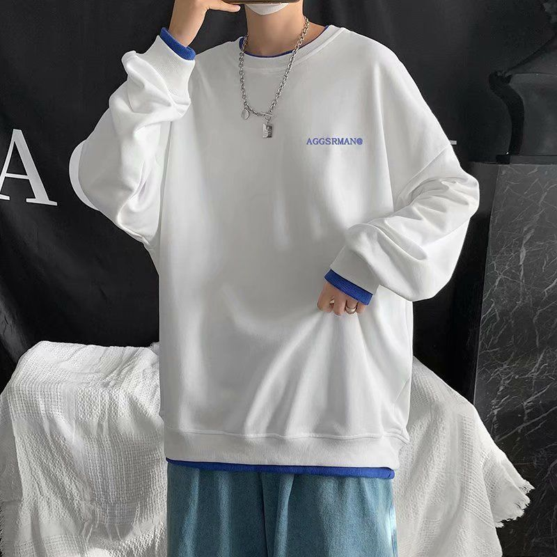 88606-春秋新款潮流纯棉白色百搭宽松叠穿打底衫长袖T恤男士内搭上衣白t-详情图