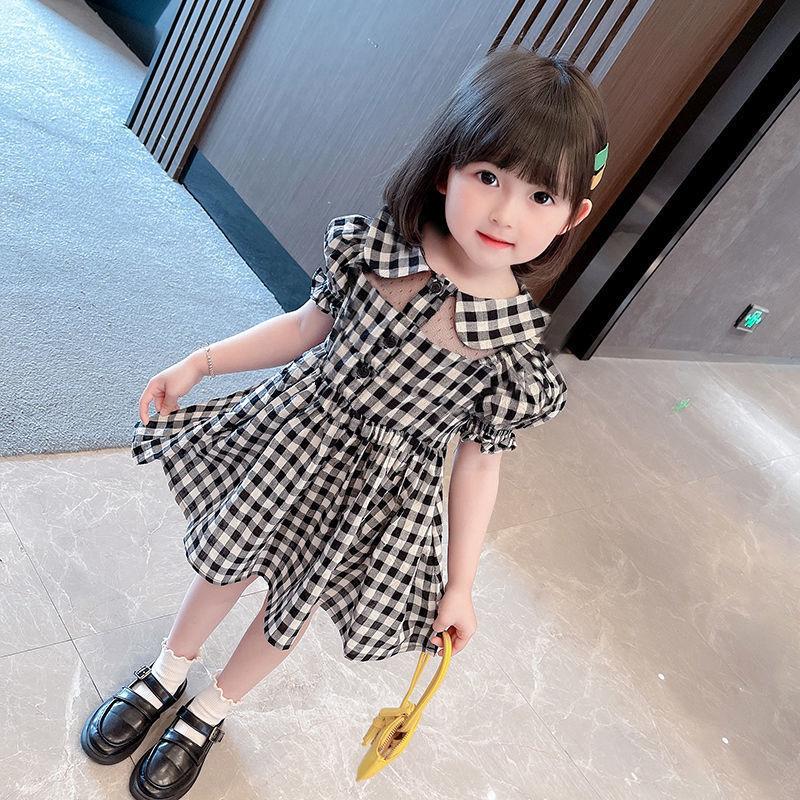 女童裙子夏季2021新款韩版时尚洋气短袖娃娃领裙子小女孩公主裙