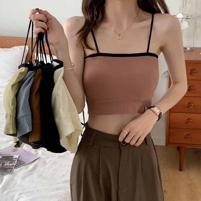 韩版撞色吊带背心女夏季可外穿带胸垫短款抹胸修身显瘦打底内衣女