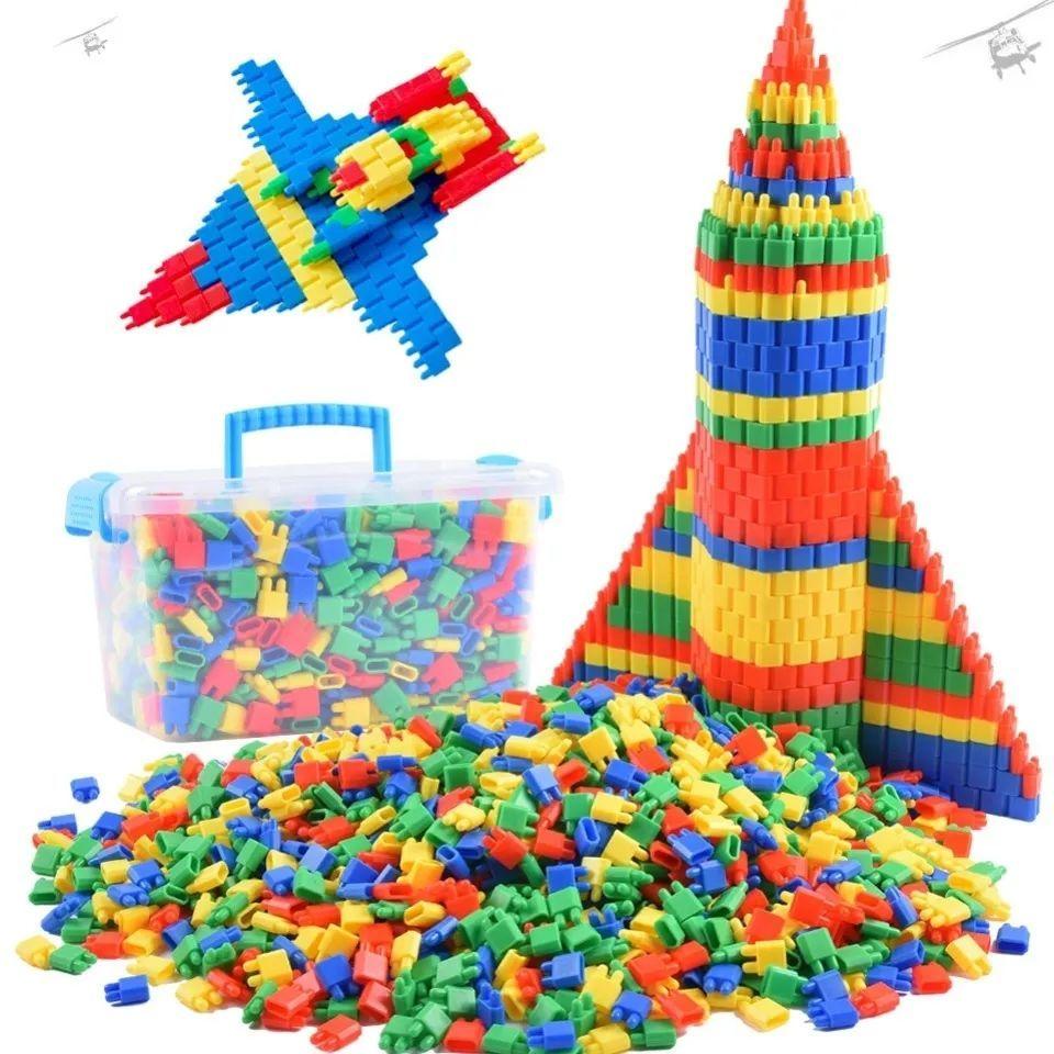 塑料拼插火箭大号子弹头积木玩具3-6岁