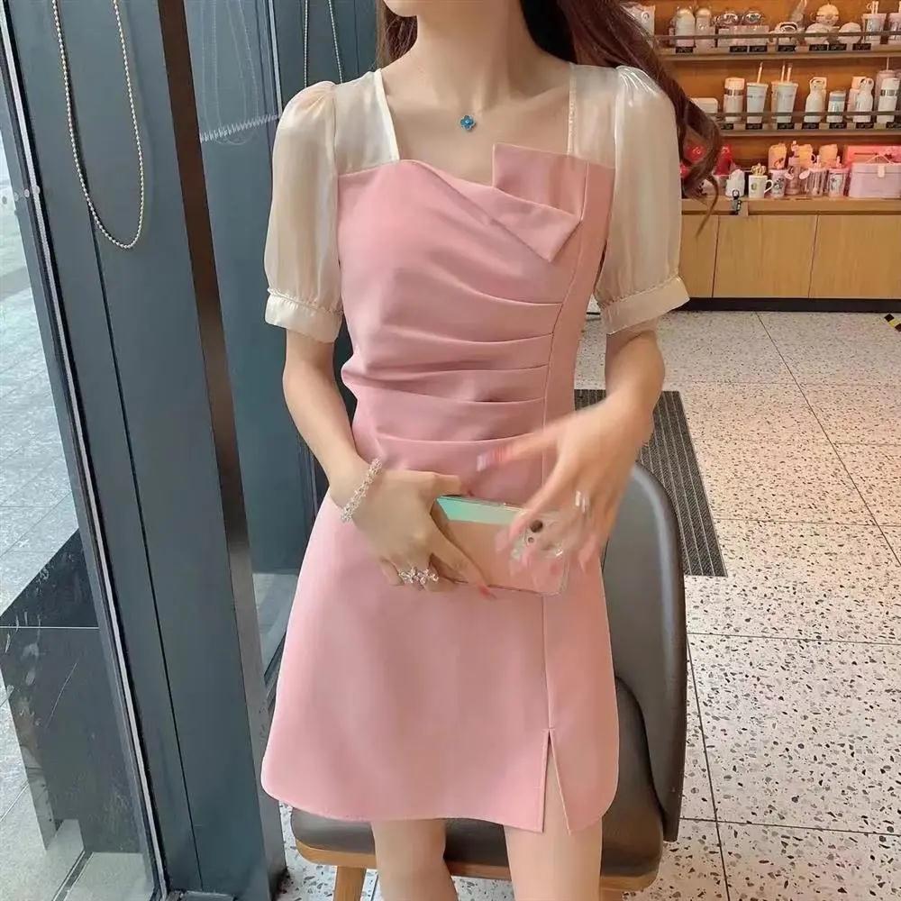 54225-泡泡袖褶皱赫本风连衣裙2021新款法式初恋桔梗裙夏季方领女包臀裙-详情图