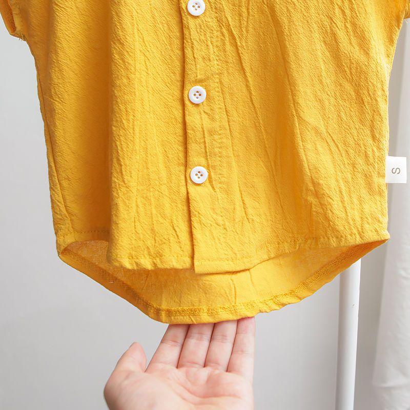 37747-男童衬衣短袖夏装新款韩版儿童半袖上衣棉麻立领纯色衬衫宽松薄款-详情图