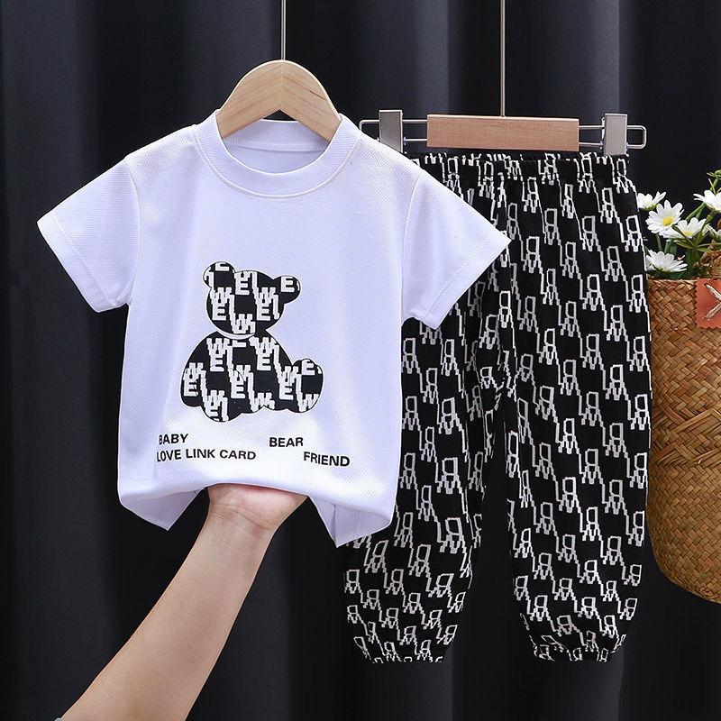 儿童短袖套装夏季男童七分裤中大童运动服女童速干夏装两件套