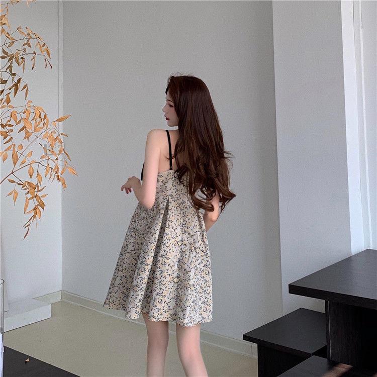 54138-吊带连衣裙女法式蝴蝶结复古宫廷风碎花a字中裙2021夏季新款性感-详情图