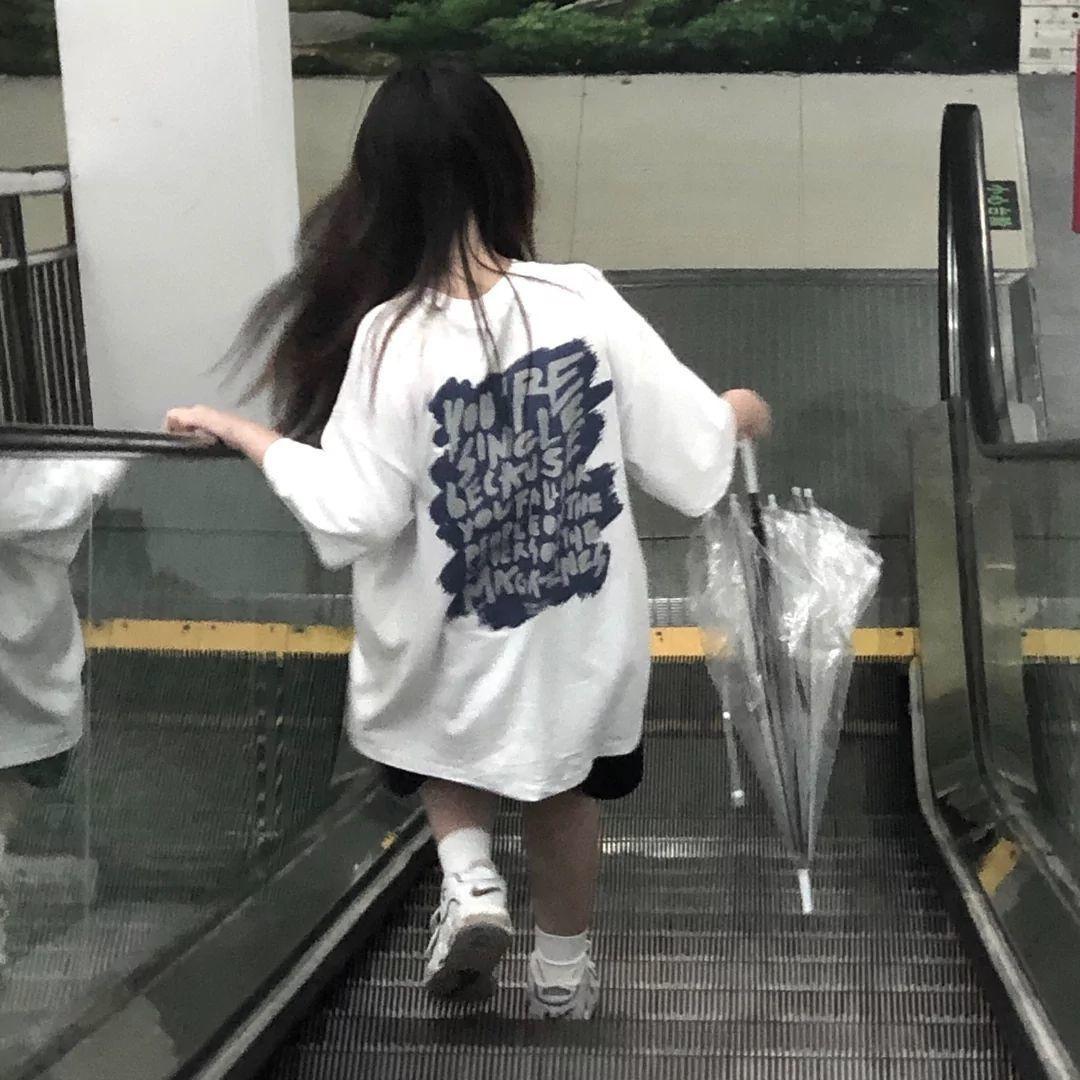 75879-纯棉盐系短袖韩国ins百搭夏季发泡工艺字母印花宽松短袖T恤女-详情图