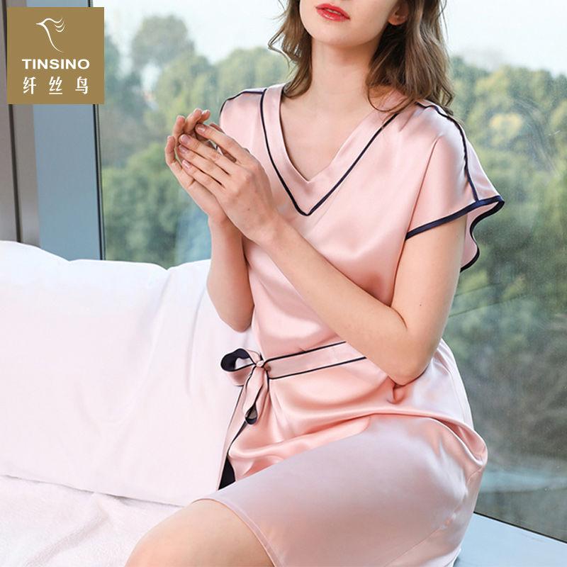 TINSINO纤丝鸟  100%重磅真丝短袖睡衣春夏家居服桑蚕丝系带睡裙