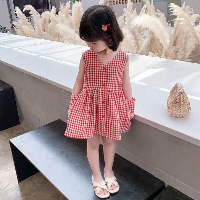 女童格子背带连衣裙2021夏季新款女宝宝休闲洋气前后穿清新连衣裙