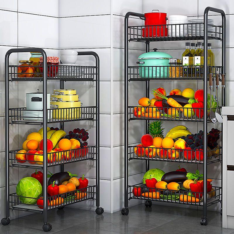 厨房用品收纳落地置物架子带滑轮可移动家用卫生间水果蔬菜储物架