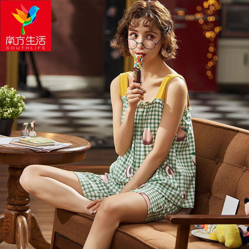 睡衣女夏季纯棉吊带可爱韩版宽松全棉夏天短袖家居服女短裤两件套
