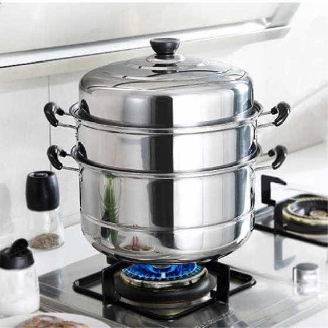 不锈钢蒸锅一二三层加厚蒸笼汤锅大号蒸锅电磁炉煤气锅具16-32cm