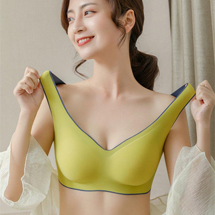 53058-正版无痕无钢圈乳胶内衣女小胸聚拢上托防下垂运动背心调整文胸罩-详情图