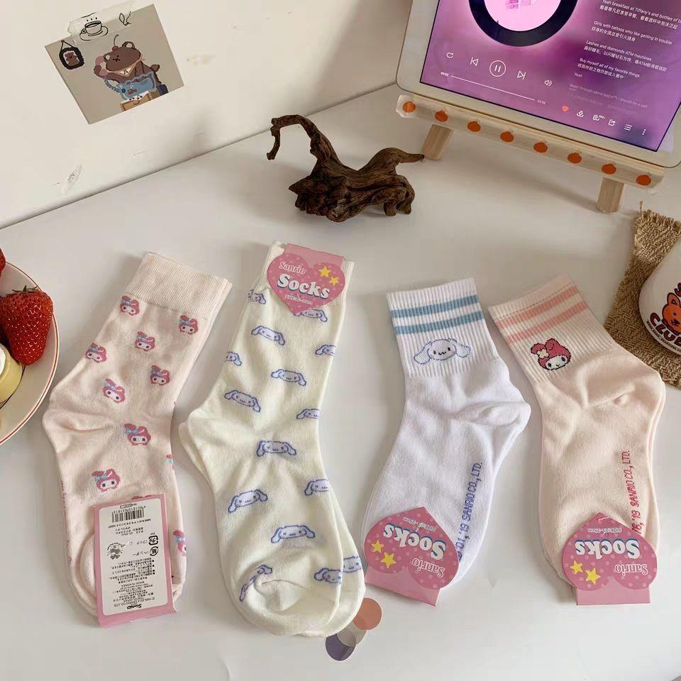 袜子女中筒袜可爱日系玉桂狗少女心卡通JK袜堆堆袜ins潮夏季薄款