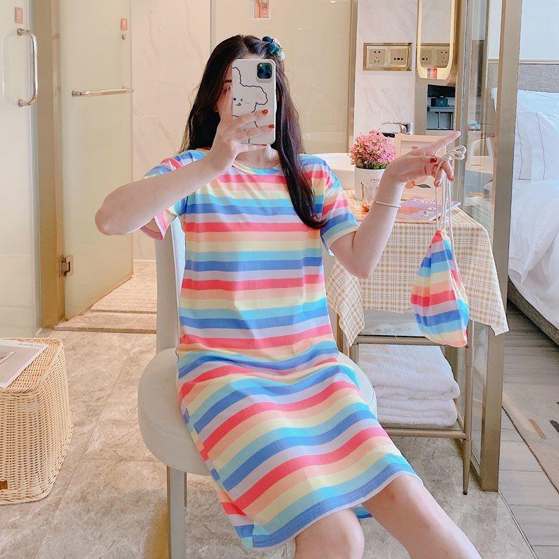 睡裙女新款夏季公主风款短袖可爱卡通学生宽松孕妇夏季睡衣可外穿
