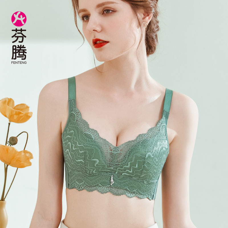 芬腾两件装内衣女小胸聚拢无钢圈乳感上托文胸收副乳调整蕾丝胸罩