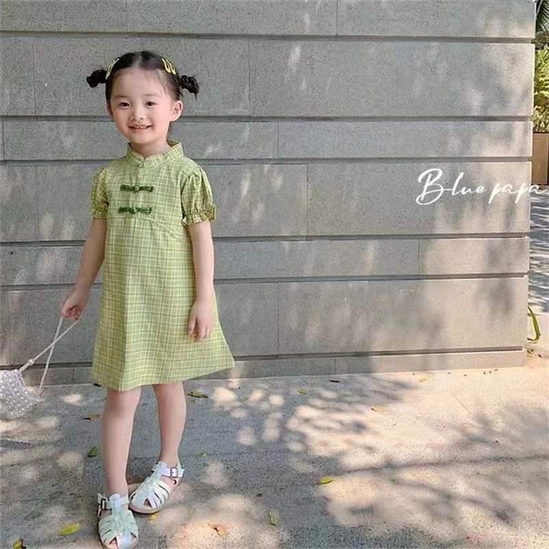 2021新款女童连衣裙夏装女童洋气旗袍儿童宝宝复古夏季中国风裙子