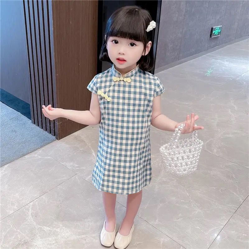 女童旗袍连衣裙2021夏装新款韩版中小童中国复古风汉服女孩公主裙