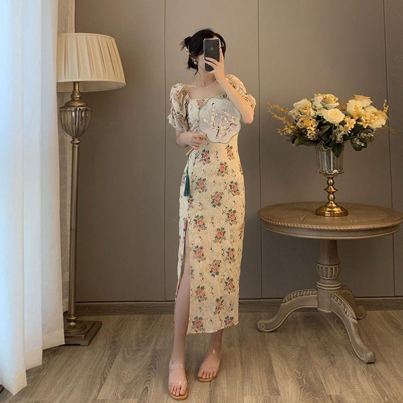 54329-改良式旗袍2021年夏季方领刺绣法式小众修身显瘦气质碎花连衣裙-详情图