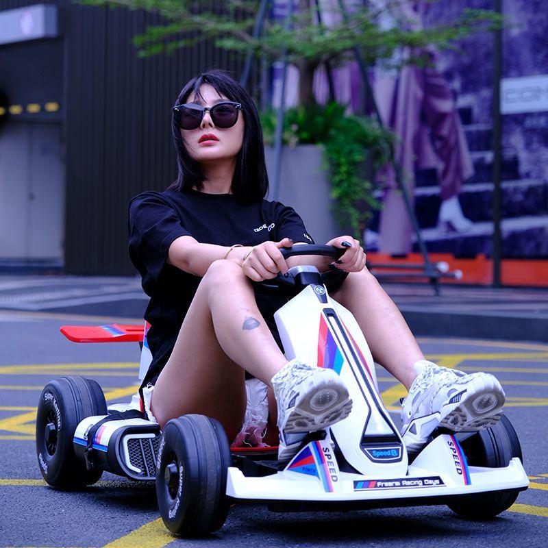 儿童电动车四轮卡丁车F1漂移赛车男女小孩汽车玩具车可坐大人童车