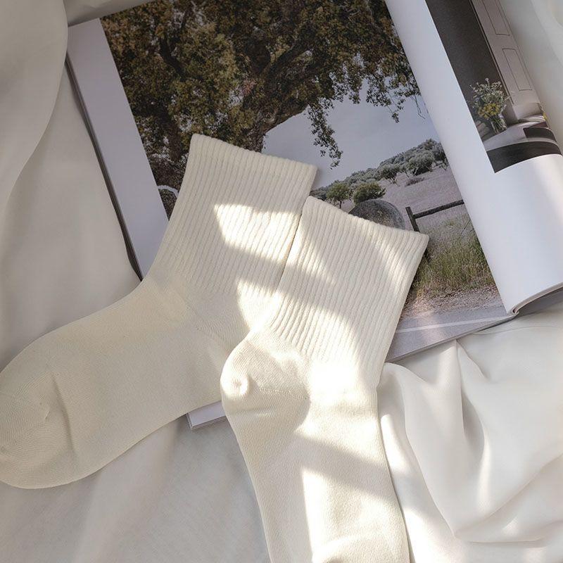 白色袜子中袜夏季薄款ins潮韩版情侣男女学生纯色百搭运动中筒袜