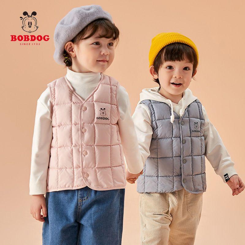巴布豆反季儿童羽绒棉马甲中小童棉背心宝宝婴儿男童女童坎肩外穿