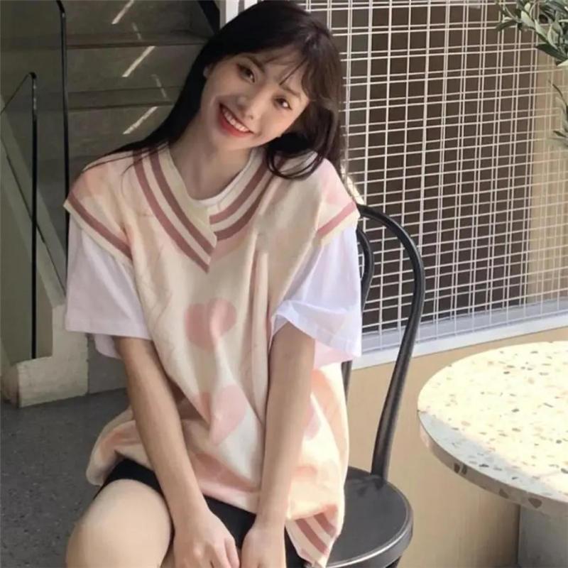 春秋甜美爱心提花V领毛衣马甲背心女学生韩版宽松百搭针织衫上衣