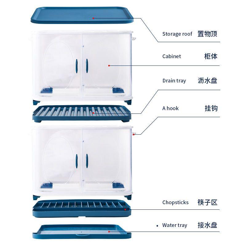 88619-新款家用多功能塑料厨房桌面防尘置物架沥水橱柜碗碟筷餐具收纳盒-详情图