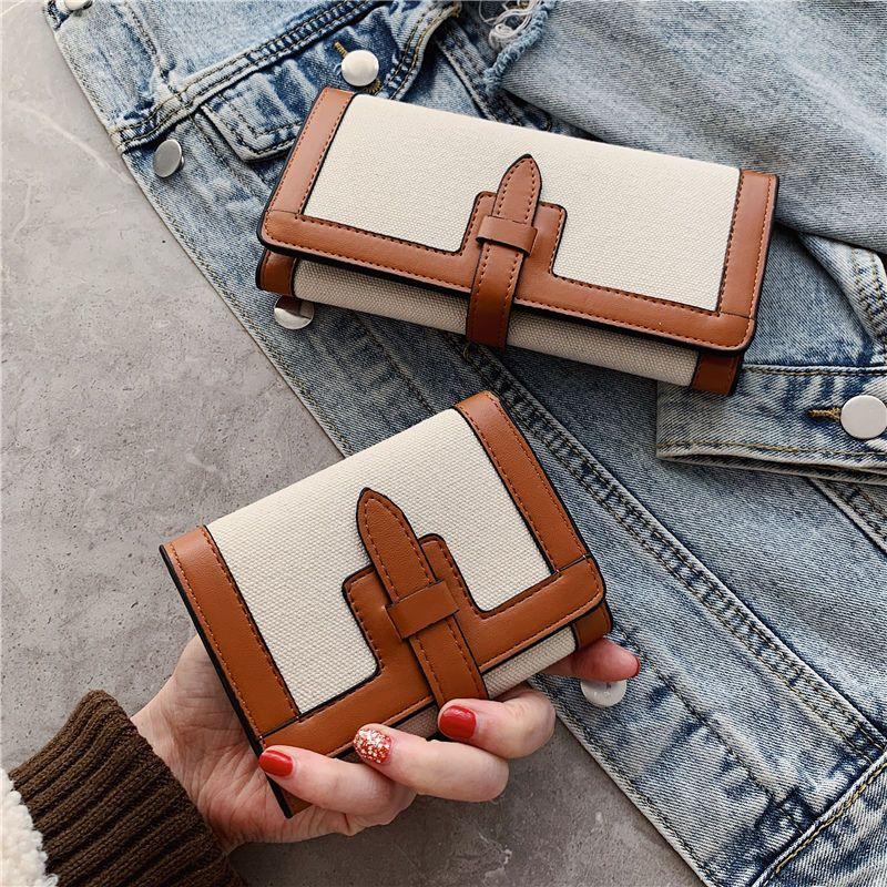 小钱包女短款2021新款简约撞色折叠小零钱夹复古多卡位长款手拿包