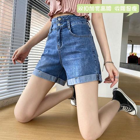 54306-牛仔短裤女宽松阔腿显瘦高腰大码卷边五分短裤 2021新款a字热裤女-详情图