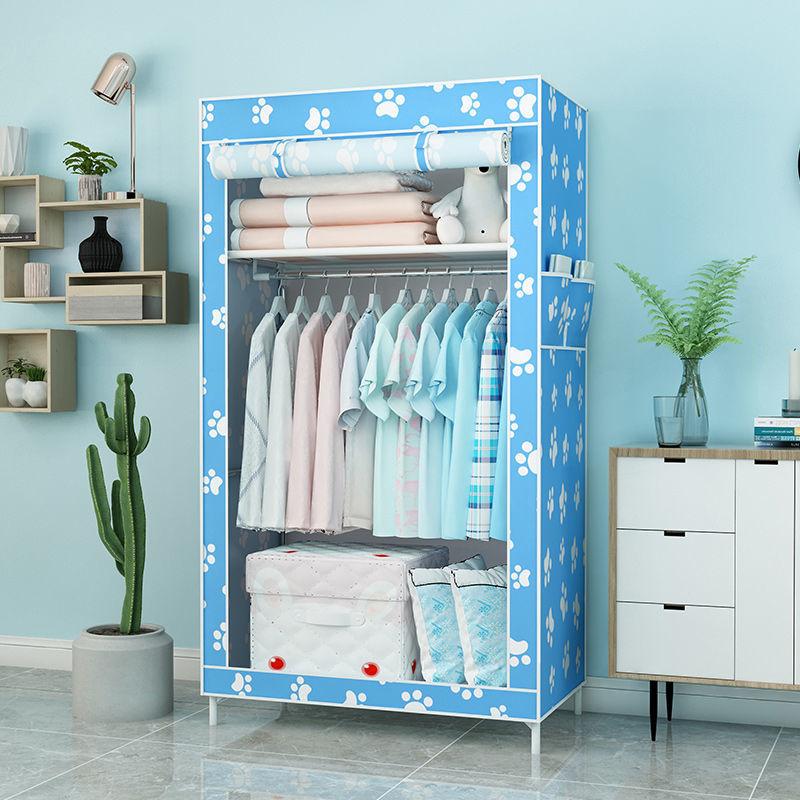 简易衣柜出租房家用耐用收纳柜免安装组装宿舍布衣柜特价加粗加固