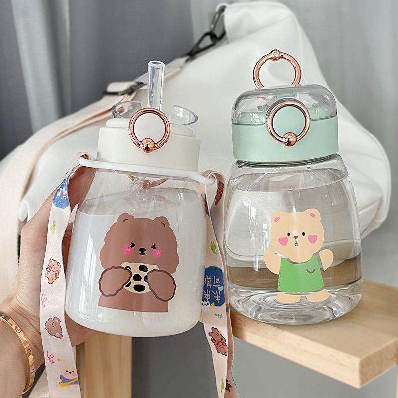 54304-儿童水杯女大容量带吸管便携可爱高颜值网红水壶夏天季塑料喝水杯-详情图