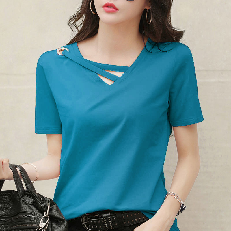 54165-夏季V领短袖T恤女士上衣潮流甜美含棉带环可爱甜美纯色修身显瘦女-详情图
