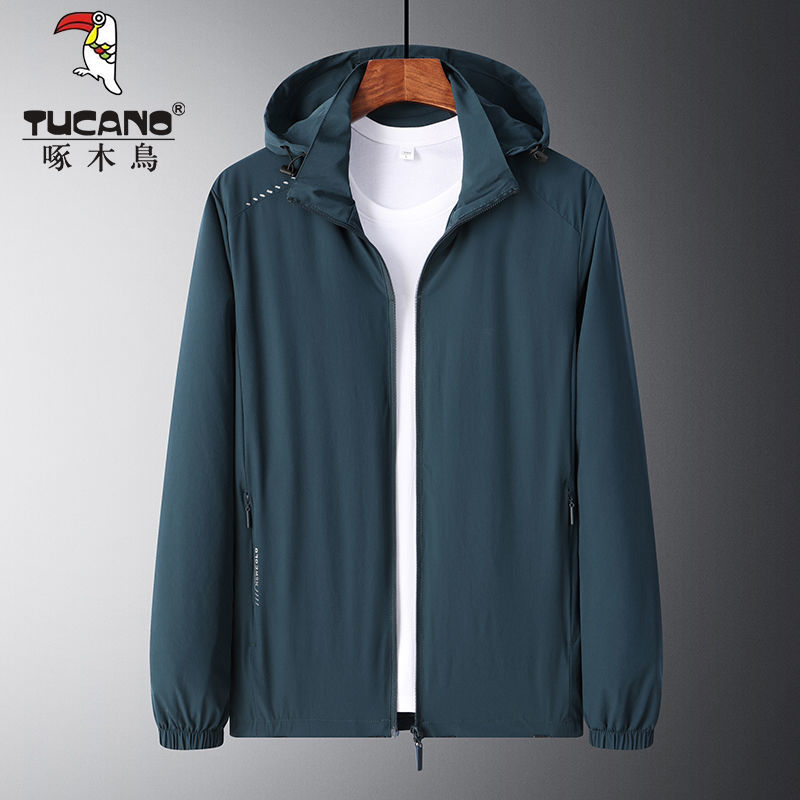 75831-啄木鸟户外运动春秋款男士潮流外套中青年带帽中长款上衣薄款夹克-详情图