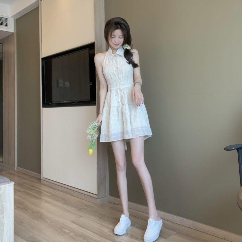 75844-港风法式初恋挂脖连衣裙女夏季2021新款网纱露背甜美收腰辣妹裙子-详情图